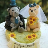 animal cake topper, gorilla cake topper, lion cake topper, cute cake topper, custom cake topper, personalized wedding