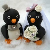 Penguin cake topper, love bird cake topper, love birds, winter wedding, winter cake topper, custom cake topper, hand made wedding, Etsy,