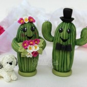 Cactus cake topper, wedding cake topper, custom cake topper, cute cake topper, personalized wedding, desert wedding, hand made cake topper, bride and groom figurines, wedding keepsake, cacti cake topper