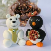 Polar bear and Penguin cake topper, winter wedding, winter wonderland wedding, winter cake topper, Christmas wedding, Christmas cake topper,custom cake topper, wedding cake topper, cute cake topper, bride groom figurines, personalized wedding, hand made cake topper, animal cake topper, wedding keepsake