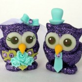 Owl wedding cake topper, love birds, custom cake topper, wedding cake topper, owl cake topper, love bird cake topper, personalized wedding, cute cake topper, hand made cake topper, purple wedding, robin egg blue wedding, sparkly wedding, glitter cake topper