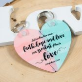 Heart Puzzle Key Chain - His and Hers Key Chains - Valentine\'s Gift - Wedding Gift - Bible Verse Key Chain - Love Key Chain - BBF Key Chains