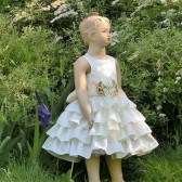 Ivory and champagne flower girl dress in satin