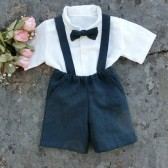 Ring bearer shorts and suspenders set