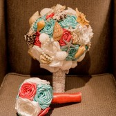 Coral and Aqua Starfish Brooch Bouquet