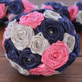 Navy Blue, Hot Pink, & Silver Wedding Bouquet