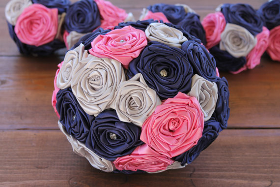 Navy Blue Hot Pink Silver Wedding Bouquet
