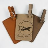 Personalized Luggage Tag - Groomsmen Gift - Bridesmaid Gift - Wedding Gift - Retro Plane - Leatherette Bag Tag - Customized - Engraved
