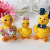 Wedding cake topper, love bird cake topper, cute cake topper, chick cake topper, cake topper with baby