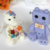 robot and unicorn cake topper, geek cake topper, nerd cake topper, geek nerd wedding, unicorn wedding, rainbow wedding, cute cake topper, custom cake topper