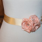 Light Gold & Peach Flower Sash