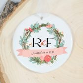 Just Married Ornament - Wedding Gift - Personalized Holiday Ornament - Porcelain Ornament - Married Ornament - Wedding Ornament
