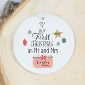 Our First Christmas Ornament - Mr and Mrs Ornament - Holiday Porcelain Ornament