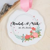 Personalized Christmas Ornament - Porcelain Holiday Ornament - Wedding Gift - Our First Christmas Ornament