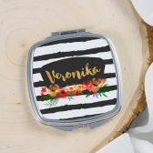 Personalized Mirror - Bridesmaids gift - Bridal party gift - Black strips - watercolor flowers - blackboard theme - Compact mirror