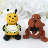 walrus cake topper, bee cake topper, wedding cake topper, custom cake topper, hand made cake topper