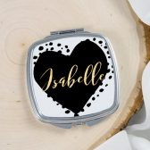 Personalized gift - Personalized Mirror - Compact Mirror - Heart - Bridesmaid gift - Birthday gift - Sweet 16 gift - Gift for her