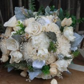 Ivory Peony & Rose Sola Flower Brooch Bouquet