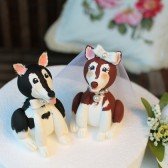 dog cake topper, alaskan malamute cake topper, wedding cake topper, custom cake topper, etsy, cake topper with dog, bride and groom, animal cake topper, hand made cake topper, personalized cake topper