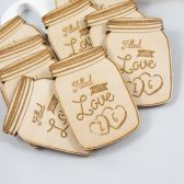 Wedding Favor - Mason Jar Wood Magnet - Mason Filled with Love Wedding Favor - Wedding Guest Gift - Wedding Magnet - Personalized