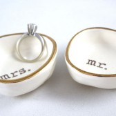 Mr & Mrs ring dishes with gold rim