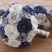 Navy Blue, Silver, Grey, & Ivory Wedding Bouquet
