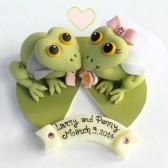 frog cake topper, wedding cake topper, cute cake topper, animal cake topper, custom cake topper, hand made cake topper, bride and groom cake topper