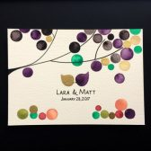 Gold leaf Wedding Painted Album - Watercolor album cover with golden metal binders - custom names and date