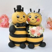 bee cake topper, bumble bee cake topper, wedding cake topper, hand made cake topper, custom cake topper, Etsy, bride and groom figurines, wedding cake, bride to bee, bee themed
