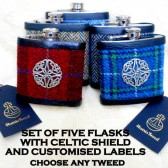 Groomsman gifts , set of flasks , Harris Tweed , Celtic , ste of flasks , best man gifr , ushers gift , scottish gift , scottish wedding
