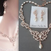 Brides rose gold jewelry set