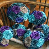 Peacock Inspired Fabric Bouquets