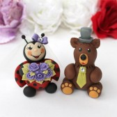 wedding cake topper, cute cake topper, hand made cake topper, custom cake topper, animal cake topper, ladybug cake topper, grizzly bear cake topper, ladybug theme, ladybug party