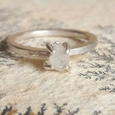Rough White Diamond Engagement Ring
