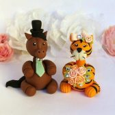horse cake topper, tiger cake topper, safari cake topper, country cake topper, rustic cake topper, etsy cake topper, animal cake topper. cute cake topper, custom cake topper, personalized bride and groom, personalized cake topper