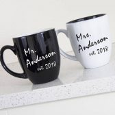 Personalized Mr and Mrs Mugs - Wedding Mug Set - Black and White Mugs - Bistro Mug - Coffee Mug - Bridal Shower Gift - Custom Couple Mugs