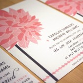 pink dahlia wedding invitation