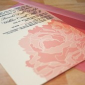 lacy peony wedding invitation
