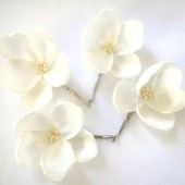 ivory cream white rose blossom wedding flower bobby pins (set of 4)