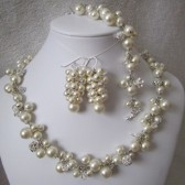 Princess Set wedding necklace, bridal necklace, earrings, swarovski pearl necklace, bracelet, wedding jewelry bridal jewelry pearl necklace