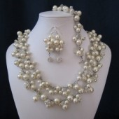 Queen Set cluster bridal jewelry, pearl necklace, bracelet, and earrings, swarovski pearls, wedding jewelry, bridal jewelry, pearl necklace
