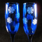 Blue Winter Wedding Snowflake Champagne Glasses