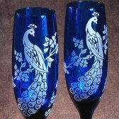 Blue Peacock Champagne Flutes