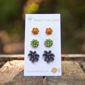 Fall Flower Earring Trio - Persimmon