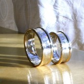 Bold Band, White gold center band with yellow gold border, Men's Wedding ring
