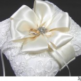 Alencon lace Ivory wedding ring bearers pillow