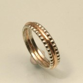 A Rose so sweet, Gold set of three 1mm wedding bands for her