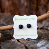 Tiny Black Rose Earrings