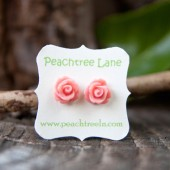 Soft Pink Rose Earrings