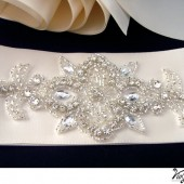 Satin ribbon with rhinestone applique wedding belt